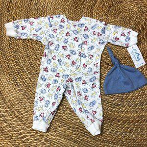 NWT 6-8LBS Newborn Romper Outfit 2Pc Farm Animals